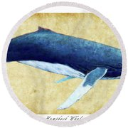 Humpback Whale Painting - Framed Round Beach Towel