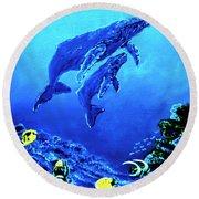 Humpback Whales Hawaii An Reef #14 Round Beach Towel