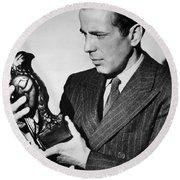 Humphrey Bogart Holding Falcon The Maltese Falcon 1941  Round Beach Towel