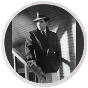 Humphrey Bogart Stairs The Maltese Facon 1941  Round Beach Towel