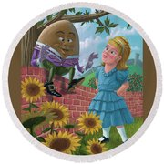 Humpty Dumpty On Wall With Alice Round Beach Towel