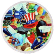 Hundreds Of Hats Round Beach Towel by Hanne Lore Koehler
