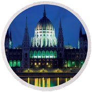 Hungarian Parliament Building Round Beach Towel