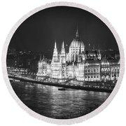 Hungarian Parliament Night Bw Round Beach Towel
