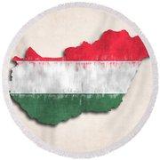Hungary Map Art With Flag Design Round Beach Towel