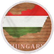 Hungary Rustic Map On Wood Round Beach Towel