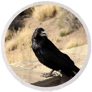 Hungry Crow Round Beach Towel