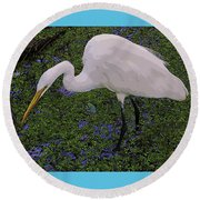 Hungry Great Egret Round Beach Towel