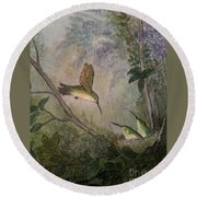 Hungry Hummers Round Beach Towel