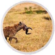 Hungry Hyena Round Beach Towel