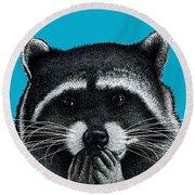 Hungry Raccoon Round Beach Towel