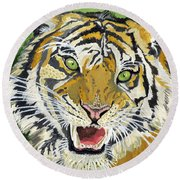Hungry Tiger Round Beach Towel