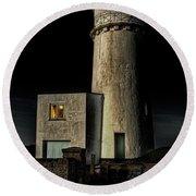 Hunstanton Lighthouse At Night Round Beach Towel