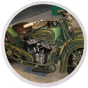 Hunter Green Indian Motorcycle...   # Round Beach Towel