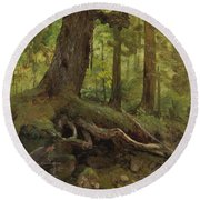 Hunter_in_the_white_mountains_near_glen_house Round Beach Towel