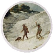 Hunters In The Snow Or The Poachers Round Beach Towel