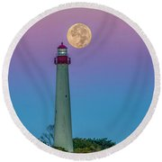 Hunter's Moon Over Cape May Lighthouse Round Beach Towel