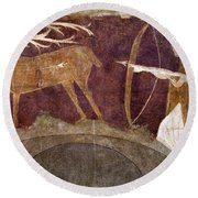 Hunting, 12th Century Round Beach Towel