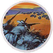 Hunting Buffalo In America Round Beach Towel