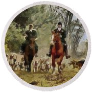 Hunting Dogs For Wild Boar Round Beach Towel