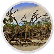Hunting Island Driftwood Beach Beaufort Sc Round Beach Towel