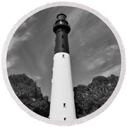 Hunting Island Lighthouse Beaufort Sc Black And White Round Beach Towel