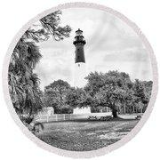 Hunting Island Lighthouse Round Beach Towel