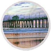 Huntington Beach Pier Panorama Colo Round Beach Towel