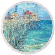Huntington Beach Pier Round Beach Towel
