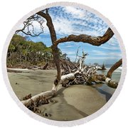 Huntington Island Panorama Round Beach Towel