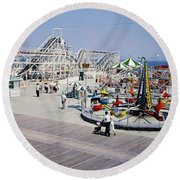 Hunts Pier On The Wildwood New Jersey Boardwalk, Copyright Aladdin Color Inc. Round Beach Towel