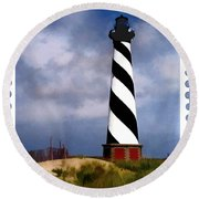 Hurricane Coming At Cape Hatteras Lighthouse Round Beach Towel