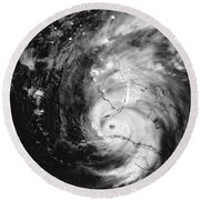 Hurricane Irma Infrared Round Beach Towel