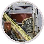 Husavik Boats Iceland 3741 Round Beach Towel