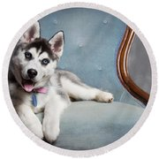 Husky Puppy II Round Beach Towel