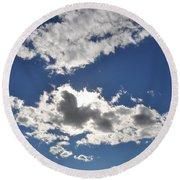 Huson River Clouds 1 Round Beach Towel