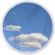 Huson River Clouds 3 Round Beach Towel