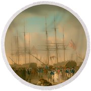 Hussars Embarking At Deptford Round Beach Towel