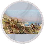 Hustle And Bustle In A Southern Harbour City Round Beach Towel