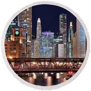 Hustle And Bustle Night Lights In Chicago Round Beach Towel