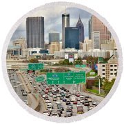 Hustle And Bustle On The Highways And Byways Round Beach Towel
