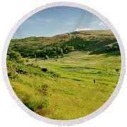 Hutton's Bog View. Holyrood Park. Round Beach Towel