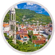 Hvar Architecture And Nature Vertical View Round Beach Towel
