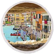 Hvar Bay Aerial View Through Stone Window Round Beach Towel