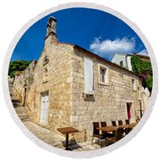 Hvar Old Stone Church And Antic Steps Round Beach Towel
