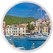 Hvar Yachting Harbor And Historic Architecture Panoramic  Round Beach Towel