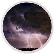 Hwy 52 - Hwy 287 Lightning Storm Image 29 Round Beach Towel