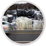 Hwy Ice   Round Beach Towel