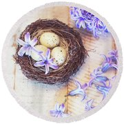 Hyacinth Flowers And Nest Round Beach Towel