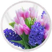 Hyacinths And Tulips  Round Beach Towel